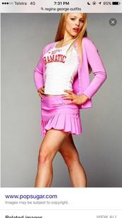 shirt,pink,skirt,regina george,cute,pleated skirt