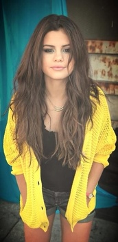 sweater,selena gomez,yellow cardigan,knitwear,jacket
