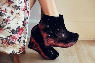wedge high heels wedges galaxy print galaxy print wedges