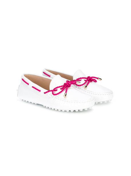 Tod's Kids bow shoes leather white