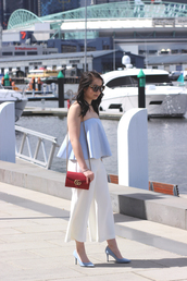 an odd girl,blogger,sunglasses,top,pants,shoes,bag,jewels,fall outfits,blue top,summer outfits,red bag,gucci bag,shoulder bag,pumps,high heel pumps,blue heels,white pants