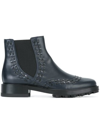 women boots chelsea boots leather blue shoes