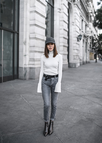 tsangtastic blogger hat jeans shoes cap grey jeans bell sleeves ankle boots