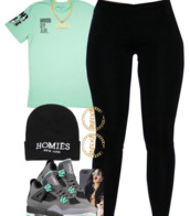 blouse,black leggings,jordans,beenie,greenish shirt,shoes,shirt,jeans