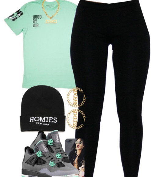 black leggings blouse jordans beenie greenish shirt shoes