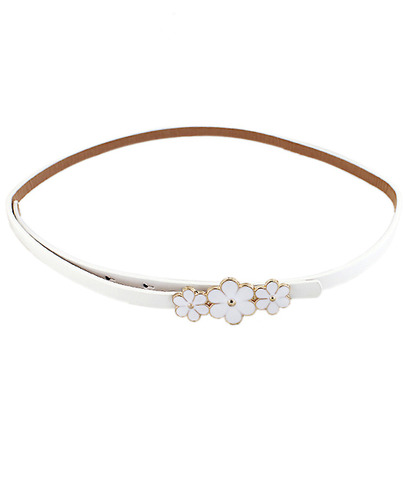White Glaze Flowers Embellished Belt - Sheinside.com