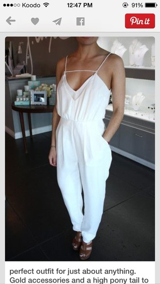 dress formal jumpsuit white pants top cute