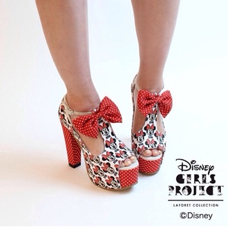 shoes mickey mouse red high heels summer sunshine