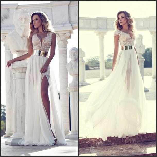 Custom made white floor length prom dresses, wedding dresses