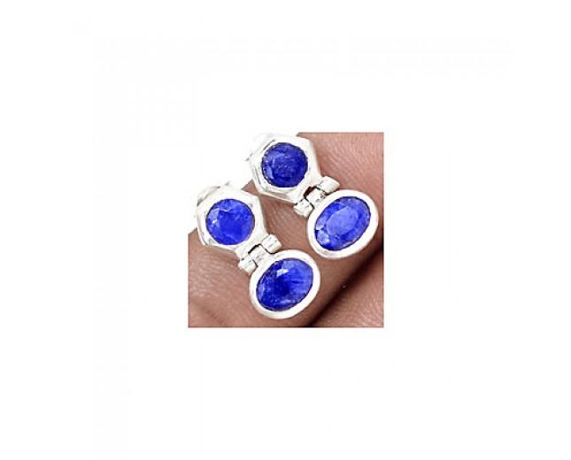 Handmade 925 sterling silver Gemstone Sapphire Stud