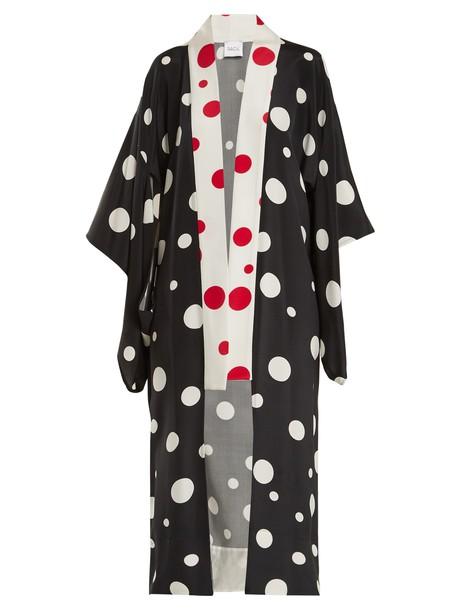 jacket kimono jacket print silk white black