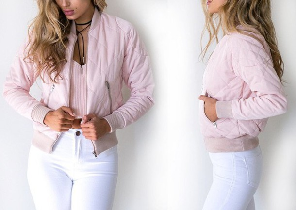 Jacket: girly wishlist, pink, pink jacket, bomber jacket, pink ...
