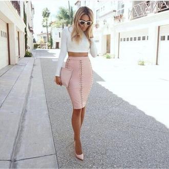 skirt pink skirt leather skirt