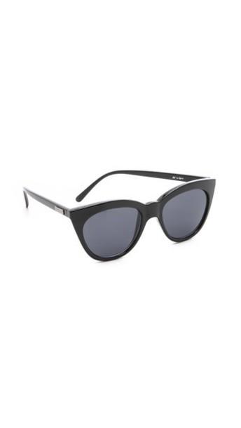 Le Specs Half Moon Magic Sunglasses - Black/Smoke Mono