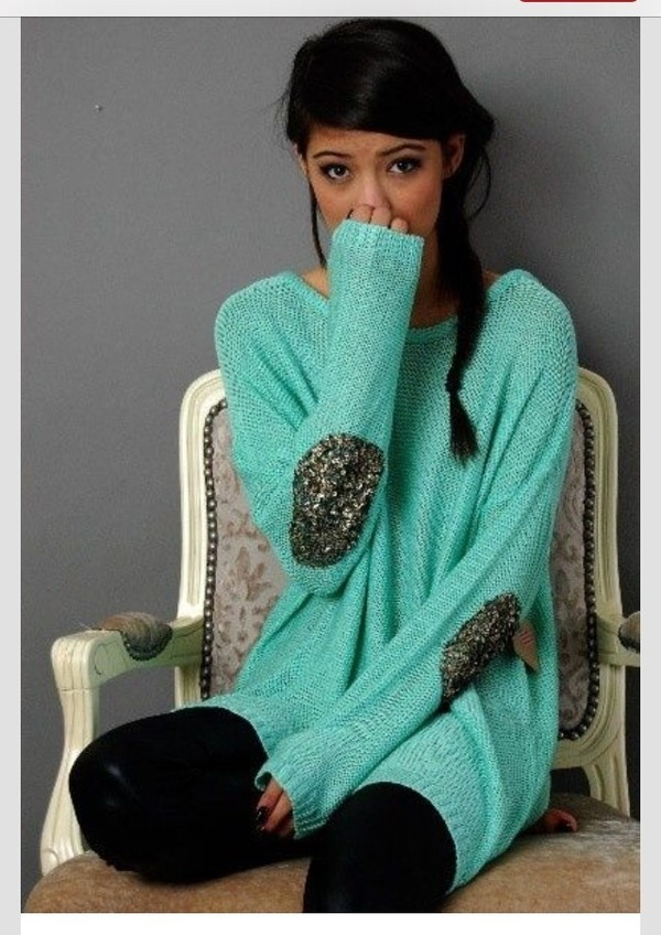 sweater mint sparkle comfy