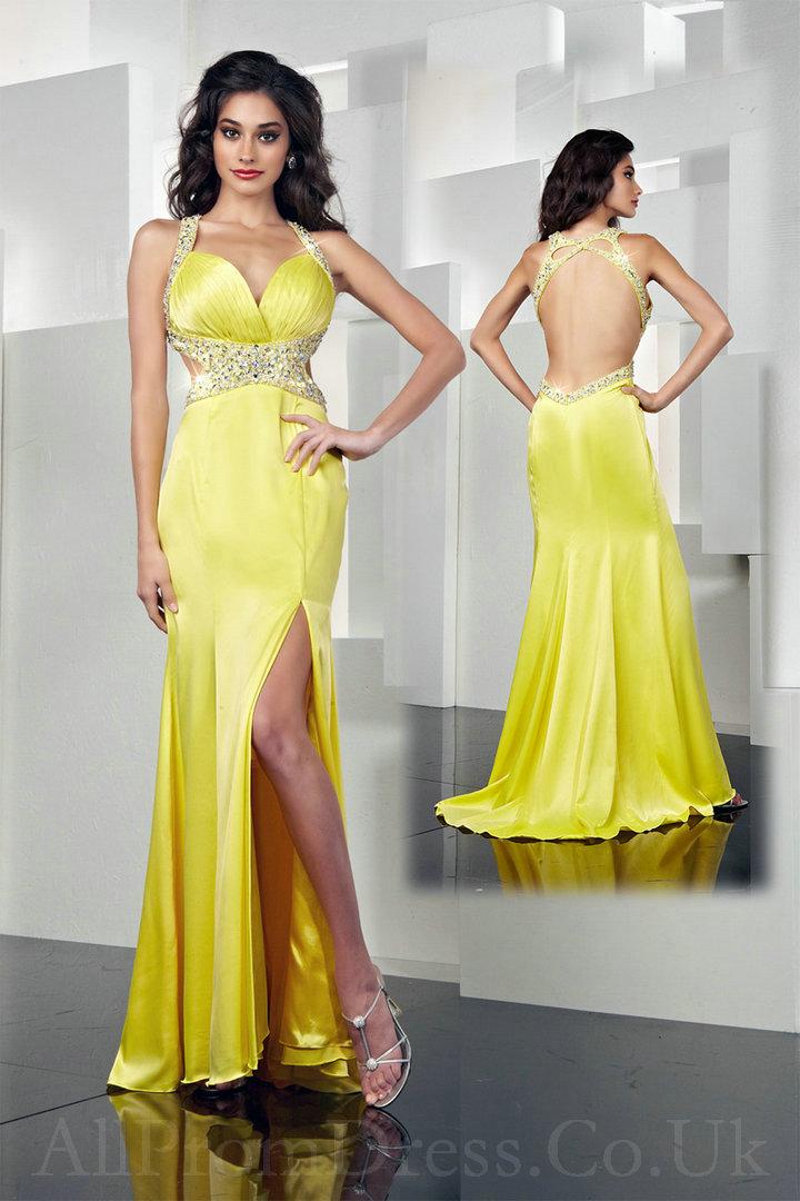 Yellow Satin Prom Dresses 98