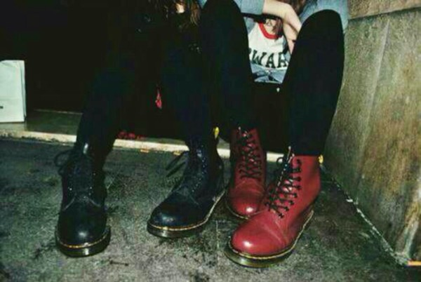 shoes red short combat boots cute boots