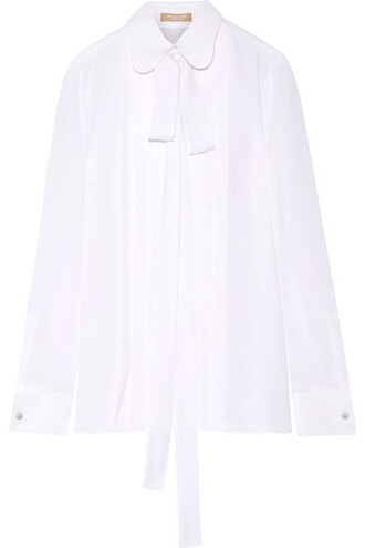 blouse bow pleated white silk top