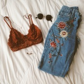 jeans,bralette,floral,high waisted jeans,vintage,flowers,embroidered,rose,light blue jeans,light blue,medium blue,medium wash jeans,medium wash denim,denim,kenzo,skinny denim jeans,underwear,lace bralette,cute,fall colors,high waisted,pattern,orange,sunglasses,lace,floral embroidery,embroidedjeans,top,festival shirt,hippie,crochet,brown,hippy shirt,earthy colors