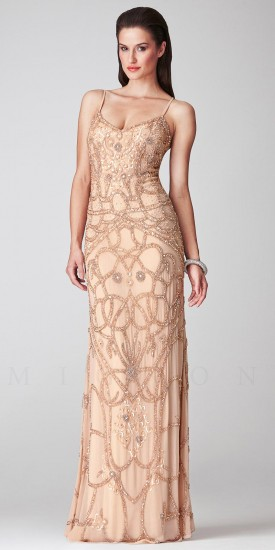 Beaded V-Neck Long Evening Dresses by Mignon