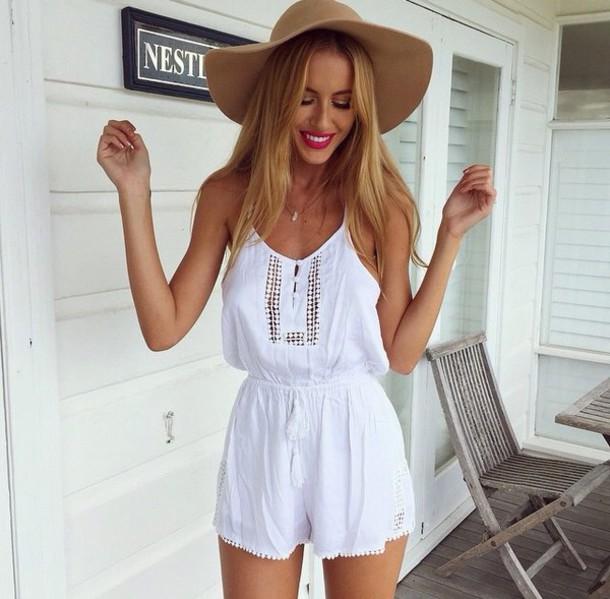 jumpsuit white jumpsuit/romper hat