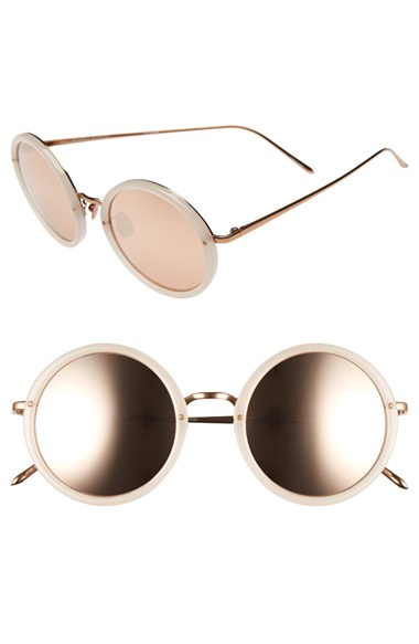 Linda Farrow 51mm Round 18 Karat Rose Gold Trim Sunglasses | Nordstrom