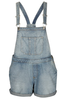 MOTO Bleach Denim Dungarees - Topshop USA