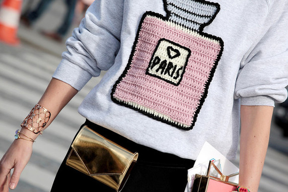 sweatshirt sweater paris perfume