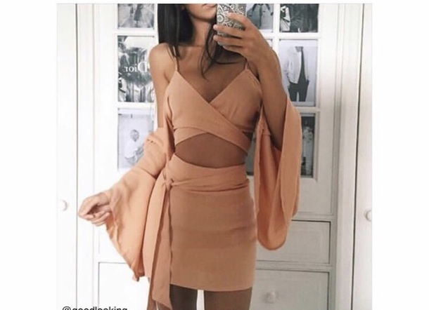 romper nude two-piece skirt bralette tank top bell sleeves pencil skirt set outfit