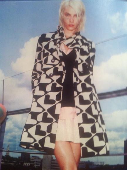 black and white geometric hearts long coat b & w