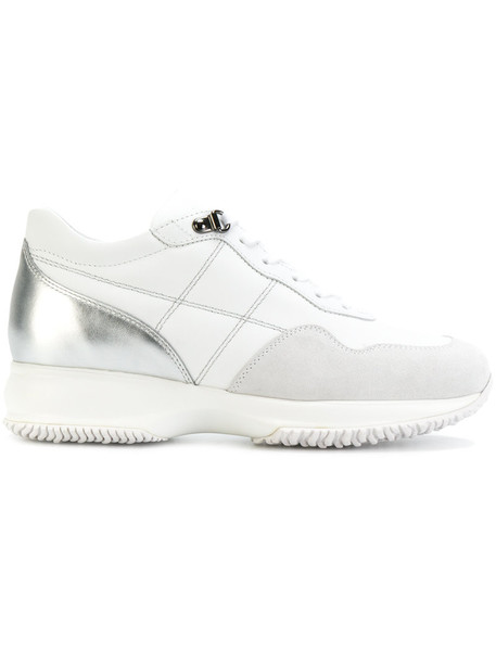 Hogan women sneakers leather white suede shoes