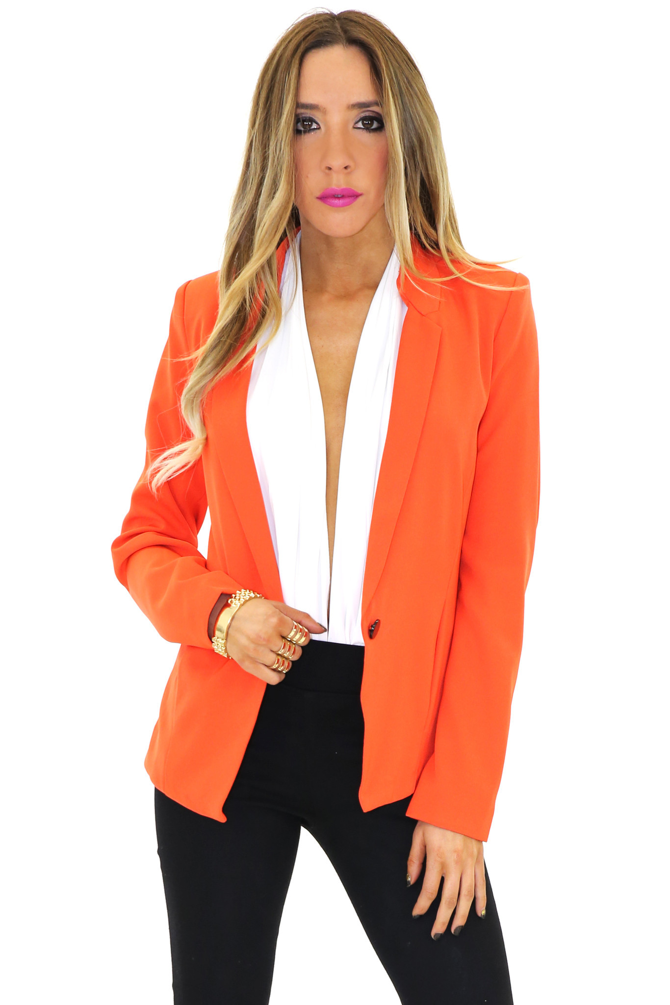 FRANCIS ONE BUTTON BLAZER - Orange | Haute & Rebellious