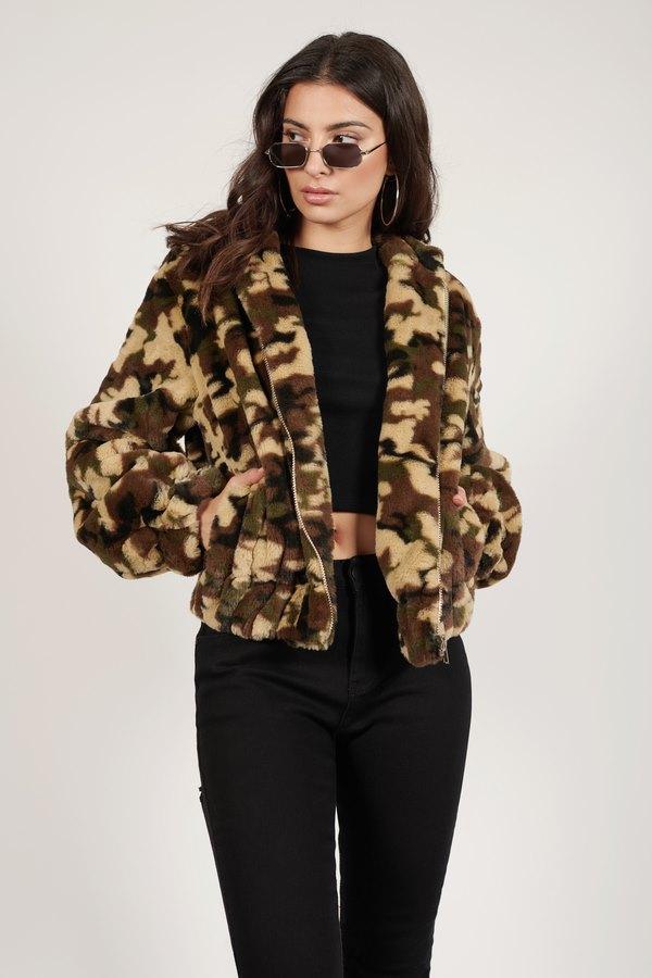 Coco Olive Multi Oversized Sherpa Jacket