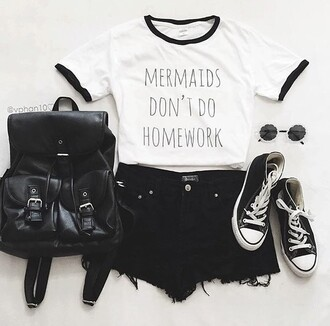 shirt t-shirt brand black outfit cute top black and white black bag all star sunglasses white t-shirt white top white mermaid homework tumblr weheartit bag black leather cool round graphic tee shoes