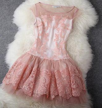 dress pink dress pink embroidered tutu mesh lace fashion elegant elegant dress old pink retro
