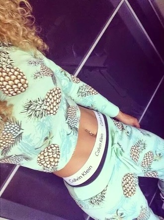 jumpsuit pineapple print joggers mint outfit pineapple outfit