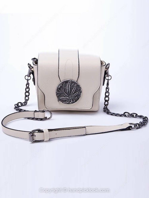 Beige Metal Embellished Squre PU Leather Cross Body Bag - HandpickLook.com