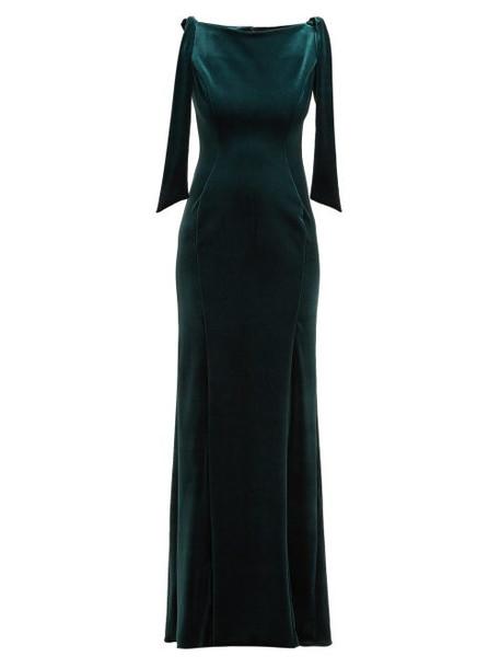 Emilio De La Morena - Princess Cut Velvet Gown - Womens - Dark Green