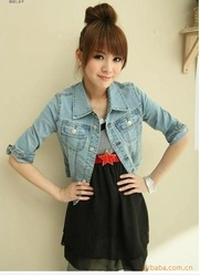 Online shop spring and autumn half denim outerwear female