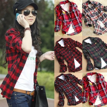 Plus Size Women Clothing New Casual Plaid Shirt Button Down Lapel ...
