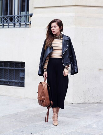 elodie in paris blogger striped sweater leather jacket leather backpack strappy heels beige sweater striped turtleneck sweater black jacket jacket black leather jacket midi skirt black skirt brown backpack