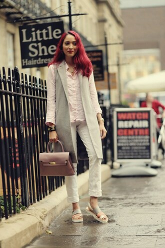 preppy fashionist blogger jacket blouse jewels bag jeans shoes sleeveless coat handbag sandals fall outfits