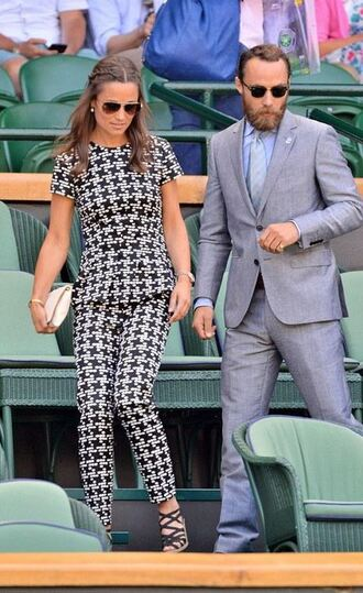 pants top black and white pippa middleton sandals shoes optical