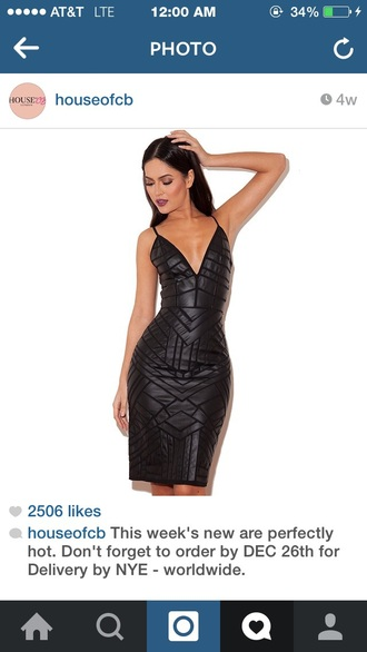 dress leather dress bandage dress deep v neck dress black dress
