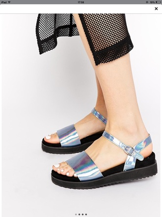 shoes sandals silver velcro summer