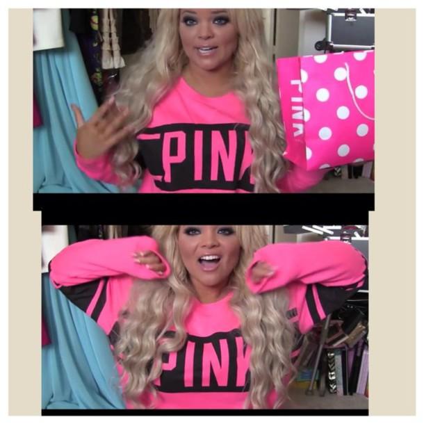 sweater pink shirt pink victoria's secret sweatshirt pink beautiful sweater pink sweater pink by victorias secret blonde hair trisha paytas pink by victorias secret