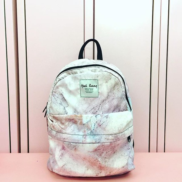 bag yeah bunny backpack marble pink pastel pink marble back to school