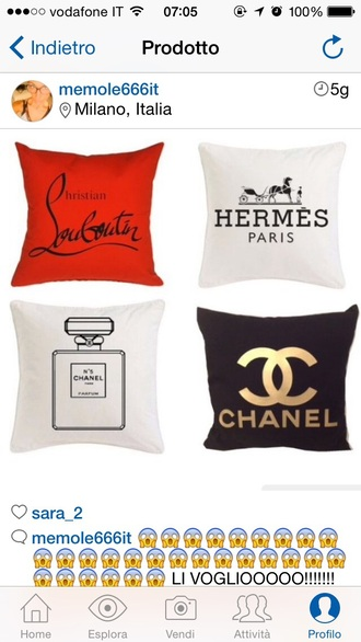home accessory pillow pillow chanel 5 hermes louboutin