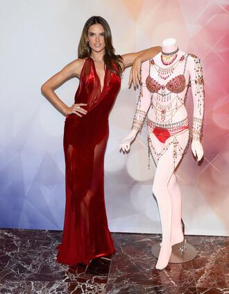 dress gown prom dress red dress alessandra ambrosio