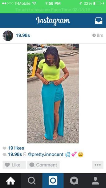 skirt teal high low skirt maxi skirt slit skirt
